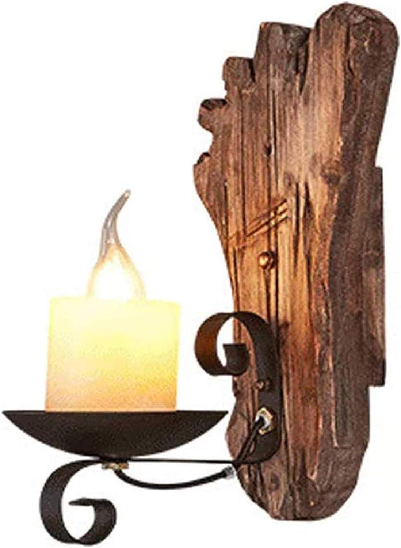 ENCOFT Wandleuchte Innen Vintage Wandlampe SchwarzIndustrial Retro Lampe aus Eisen und Holz E27 f/ürTreppenhaus Flur Cafe Bar Restaurant Hotel Schlafzimmer Wohnzimmer