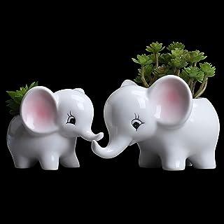 Ogrmar 2PCS Elephant Plant Window Boxes Cute Elephant Flower Pot/Modern White Ceramic Succulent Planter Pots/Tiny Flower P...