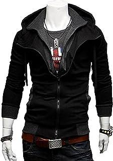 ライダースパーカー メンズ 帽子付  スウェット ジャケット 上着 カジュアル メンズ アウター ジャケット ブルゾン  ブラック