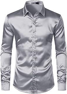 Camisas de Vestir de los Hombres de Seda Lisa Hombres Adelgazan la Camisa del Partido con diseño Redondeado Prom Camisa Ca...