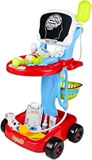 Doctor Cart Pretend Play Set Childrens Doctor Accessories Medical Kit Stethoscope Toys Organizer Role Playing Game Preschool Educational Toys Holiday Gifts for Kids 3 4 Year Olds