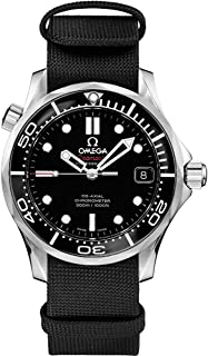 Men's Omega Seamaster Stainless Steel Watch with Black Nylon Fabric NATO Strap 212.30.36.20.01.002