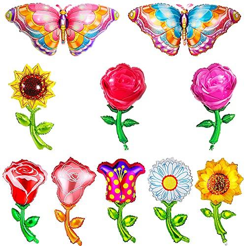 10 Piezas Mariposas Globos Girasoles Decorativa Globos de Papel de Aluminio de Mariposa Colorida de Mylar de Mariposa para Decoraciones de Baby Shower Boda Cumpleaños Fiesta de Hawaii