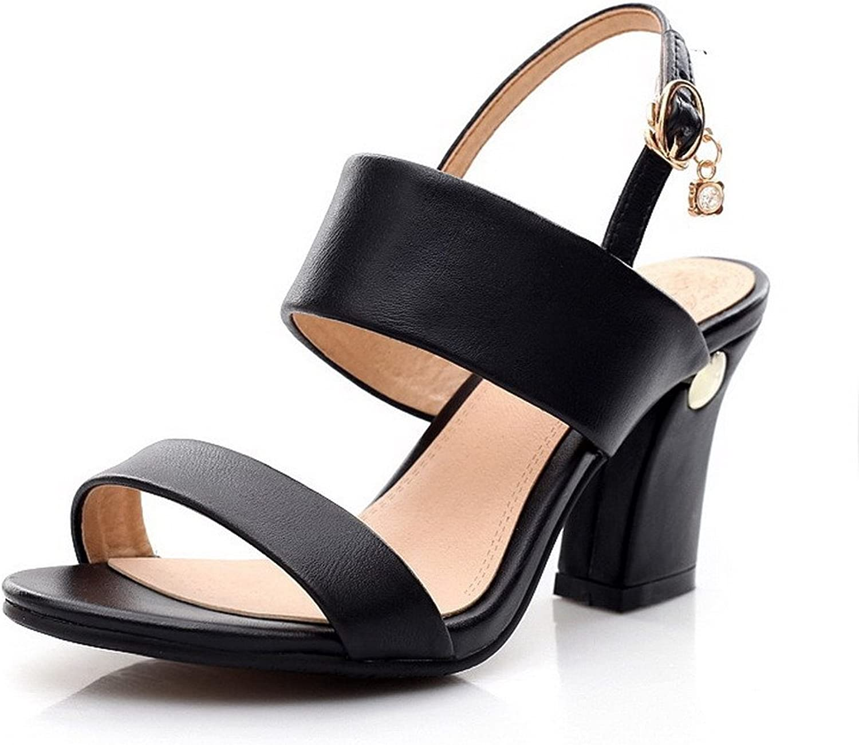 AmoonyFashion Women's High Heels Nappa Solid Buckle Open Toe Sandals