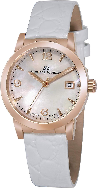Philippe Vandier Reloj Mujer Swiss Made Olympia Rouge Movimiento Cuarzo Suizo Correa de Piel y Cristal de Zafiro