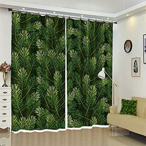 ZKHOME Pcurtain Hotel Happy Year Cortinas Navidad Regalo Verde Sala De Estar 3D Cortinas De Ventana para Sala Decoración Cortinas Rideaux-(W) 420x(H) 220cm