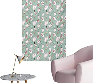 Anzhutwelve Tea Party Wall Paper Polka Dots on Teapots and Cups Cupcake with Cherry on Top Teabag EnglishAlmond Green Coral W24 xL36 The Office Poster