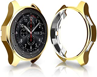 Cuteey Case for Samsung Gear S3 Frontier SM-R760,TPU Scractch-Resist Shock-Proof All-Around Protective Bumper Shell Protective Galaxy Watch SM-R800 46mm Smartwatch Accessories (Gold, 46mm)