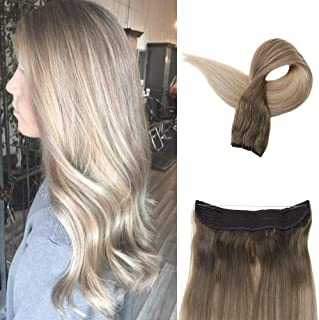 Fshine 14 Inch Halo Remy Human Hair Extensions Thick Ends Double Weft 70 Gram Hidden Balayage Color 8 Fading To Color 60 and 18 Layered Hair Extensions Blonde Ombre Skin Weft Hair