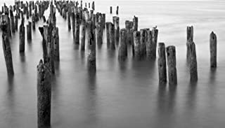 HeritageArtDecor Hudson River Pilings - Fine Art Print on Canvas 18 x 10 Inch - Home Decor Wall Art Painting for Home Living Room,Bedroom,Office Canvas Print ONLY -NO Frame