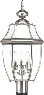 Progress Lighting P6433-09 New Haven Three-Light Post Lantern, Stainless Steel