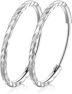 925 Sterling Silver Hoops Diamond Cut Round Circle Lightweight Hoop Earrings Small and Large 25 35 45 55 65 mm Birthday Gift for Women Girls