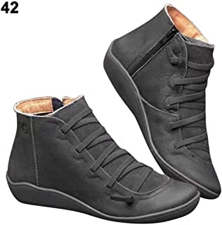 Dailyfun Women's Arch Support Boots Vintage Leather Waterproof Comfortable Walking Flat Heel Booties Round Toe Ankle Flat Heel Boots, Large Size (35-43)