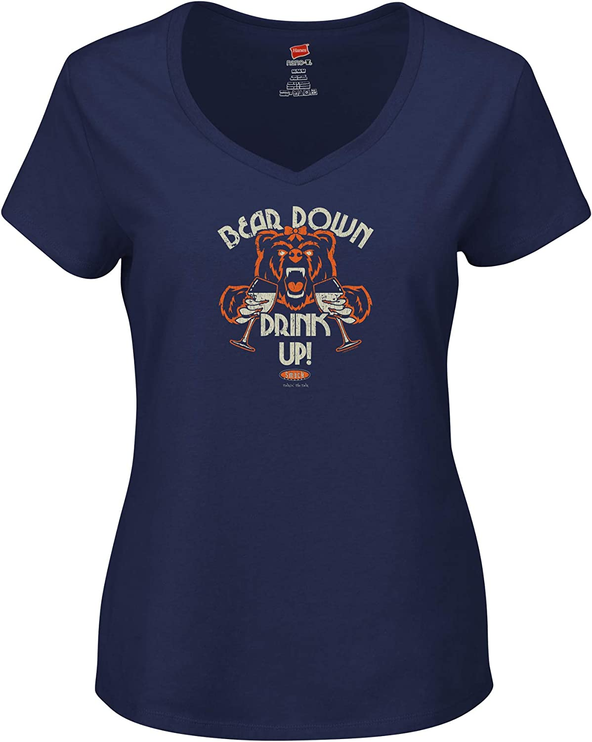 Xs-2X Smack Apparel Chicago Football Fans Bear Down Drink Up Navy Ladies Shirt