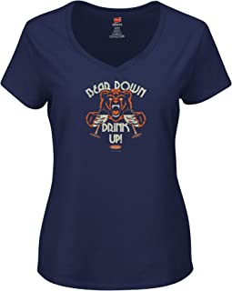Smack Apparel Chicago Football Fans. Bear Down Drink Up Navy Ladies Shirt (Xs-2X)