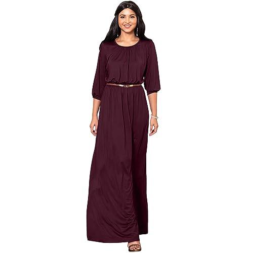 6f7139dfac5e KOH KOH Womens Long 3 4 Sleeve Pleated Vintage Solid Fall Winter Maxi Dress