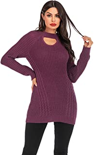 Women Winter Warm Stretchable Elasticity Long Knit Sweater Dress,Purple,XXXL