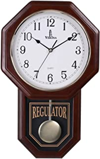 Pendulum Wall Clock Battery Operated - Quartz Wood Pendulum Clock - Silent, Wooden Schoolhouse Regulator Design, Decorative Wall Clock Pendulum, for Living Room, Kitchen & Home Décor, 18