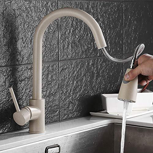 WEILINW Fregadero de cocina Grifo flexible moderno Grifo giratorio extraíble Grifo Grifo de agua fría y caliente Grifos de agua Grifos de cobre montados en cubierta
