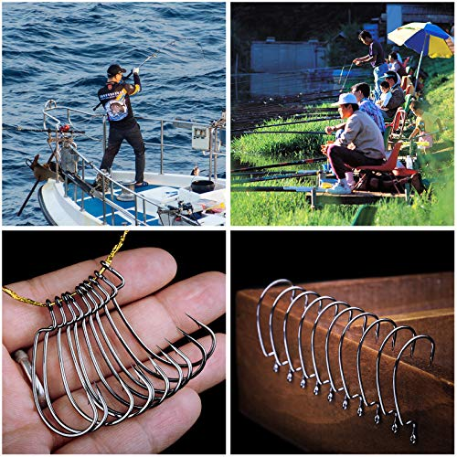 Jodsen Fishing Hooks Set,100 Pcs Circle Hooks Fishing with Stotage Box,5 Size Barbed Carbon Steel Black Bait Fish Hook for Saltwater Freshwater,2#,1#,1/0#,2/0#,3/0#