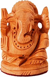 Purpledip Small Wooden Idol Lord Ganesha (Ganapathi, Ganesh) for Table Top, Home Temple, Car Dashboard; Fine Hand-Carved Kadam Wood Statue (11261)