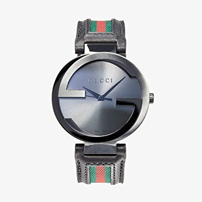 Gucci Interlocking 42mm Leather and Nylon Strap Watch-YA133206 (Black/Anthracite/Green/Red) Watches
