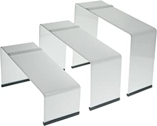 SOURCEONE.ORG Source One Premium Colored Acrylic Shoe Display Risers. Set of 3 with Non Slip Rubber Available in (White)