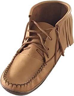 Bastien Industries Men's Fringe Moose Hide Leather with Heavy Oil Tan Sole Earthing Moccasin Boots