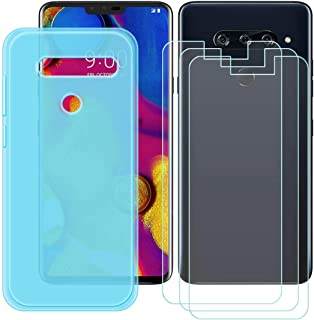 YZKJ Skal till LG V40 ThinQ Cover blå silikon skyddande skal TPU skal fodral + 3 st pansarglas skärmskydd för LG V40 ThinQ...