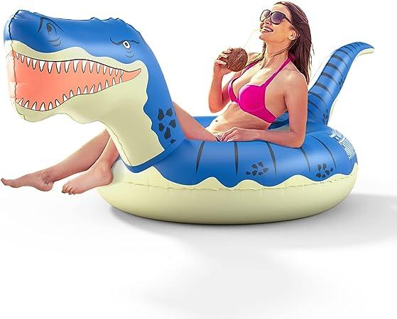 FUNOVA Flotador Piscina Hinchable Dinosaurio - Gigante Colchoneta Anillo de Natación Flotante Lounge Aqua Diversión Verano Inflable Juguete para Fiestas Playa de Piscina para niños Adultos Azul