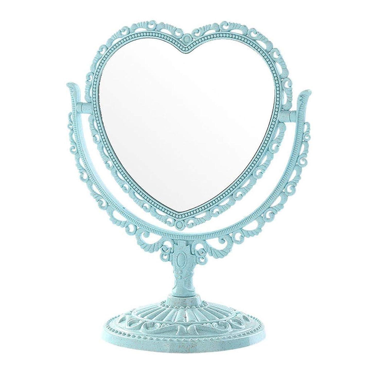 遠洋の有罪資金ホームデスクトップ両面バニティミラーポータブル取り外し可能化粧鏡プリンセスミラー女性 (Color : Blue, Size : 12.7x25cm)