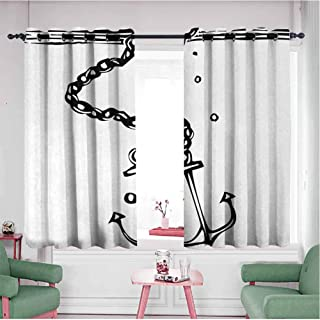 KAKKSW Blackout Curtains, Prevent Light from Shining, Nautical Themed Monochrome Illustration with Chains and Sinking Anchor Naval, 96
