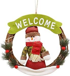 BESTOYARD Couronne de Noël Deco Noel Bonhomme de Neige avec Motif Welcome Suspension Noel Décoration Arbre de Noel 22cm