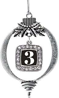 Inspired Silver - Sport Number 3 Charm Ornament - Silver Square Charm Holiday Ornaments with Cubic Zirconia Jewelry