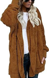 FOUNDO Women Fuzzy Fleece Jacket Open Front Hooded Cardigan Coat Outwear Pockets