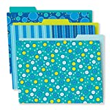 Carson Dellosa Decorative File Folders Set—11.75' x 9.5' Blue, Green, Teal Colored File Folders for Filing Cabinet, Office or Classroom Organization (6-Pack)