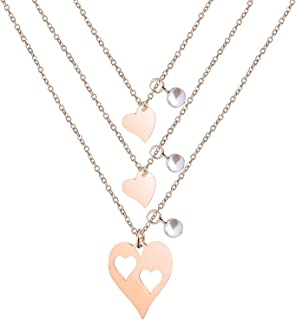 Rose Gold Mother Daughter Heart Cutout Necklace Bracelet Set with Pearl