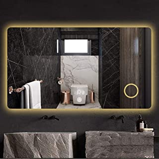 S-AIM LED Lighted Bathroom Mirror (600x800mm) with 3X Magnification, Wall Mounted Vanity Mirror - Selection of Switches/Time Temperature Display - White/Warm/Cold White