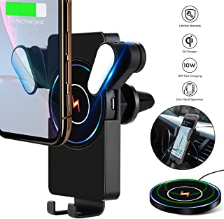 10W Detachable Air Vent Wireless Car Charger,Universal Car Holder&Portable Wireless Charging Pad Fits for Samsung Galaxy S10+Plus Note 9 and iPhone X/XR/XS Max QI-Enabled Smartphone in Car/Home/Office