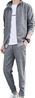 Sodossny-AU Mens Sweatshirts Athletic Pants Jogger Zip Two-Piece Sets Workout Tracksuits