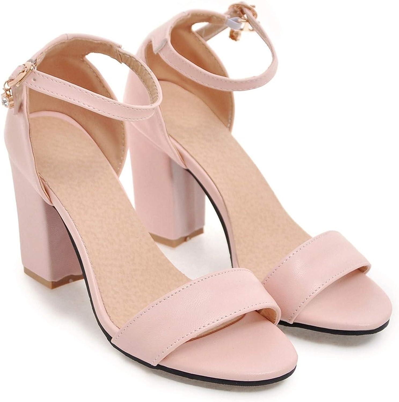 Black Pink Beige Summer Ladies shoes Buckle Square Heel Elegant Women high Heels Sandals