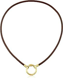 Collar Gargantilla HOLD de mujer en Plata vermeil 18 kt y cuero marrón, Largo: 38 cm, Anilla 2 cm
