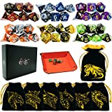 6 Sets DND Dice Double-Color Polyhedral Dice Dungeons and Dragons Rolling Dice for RPG MTG Table Games Dice Bulk with Free Six Drawstring Bags and PU Leather D&D Dice Tray