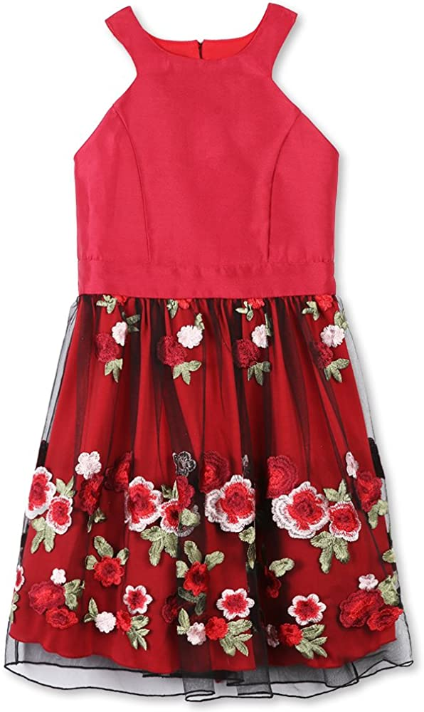 Speechless Girls' Party Dress with Embroidered Mesh Skirt