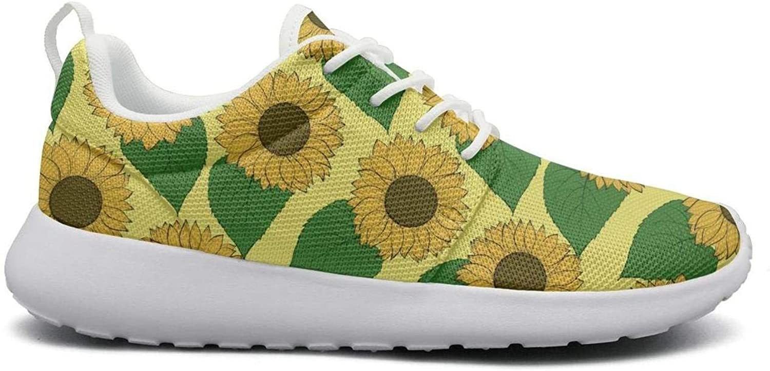 FEWW11 Women Fashion Lightweight shoes Sneakers Sunflower Patch Green Leaf Breathable Gym Lace-Up
