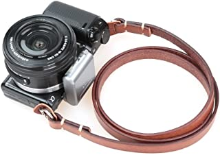 CANPIS Genuine Leather Camera Neck Shoulder Strap for Fuji Sony Olympus Panasonic Lecia Canon Nikon etc DSLR & Mirrorless Cameras (Brown, Retro Style, Slim Belt)