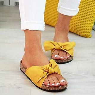 Adulti Sandali a Punta Aperta,Pantofole piatte con fiocco di grandi dimensioni,sandali a fiori in tinta unita-giallo_35,Es...