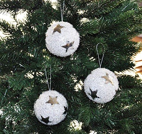 Kaemingk 12x Glitzer Christbaumkugeln 8cm mit Sternen Kristalloptik Weiß Silber Kunststoff