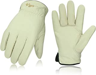 Vgo 2Pairs 32℉ or Above Lined Winter Cow Grain Leather Work and Driver Gloves (Size XL,Cream,CA9501F)