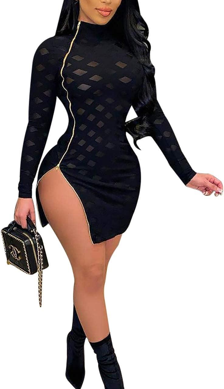 MESLIMA Women's Sexy Zip Side Dress Short Sleeve Summer High Slit Bodycon Club Mini Dress